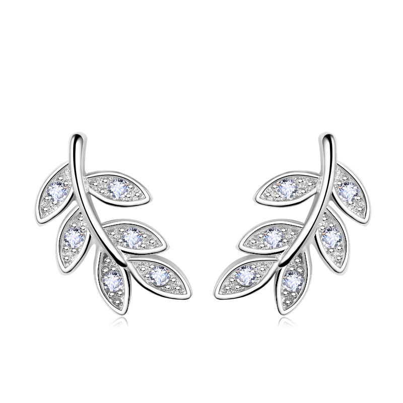 Høykvalitets smykker 2017 New Fashion Design Leaves Shiny Crystal 925 Sterling Silver Stud Earrings for Women Gift Wholesale