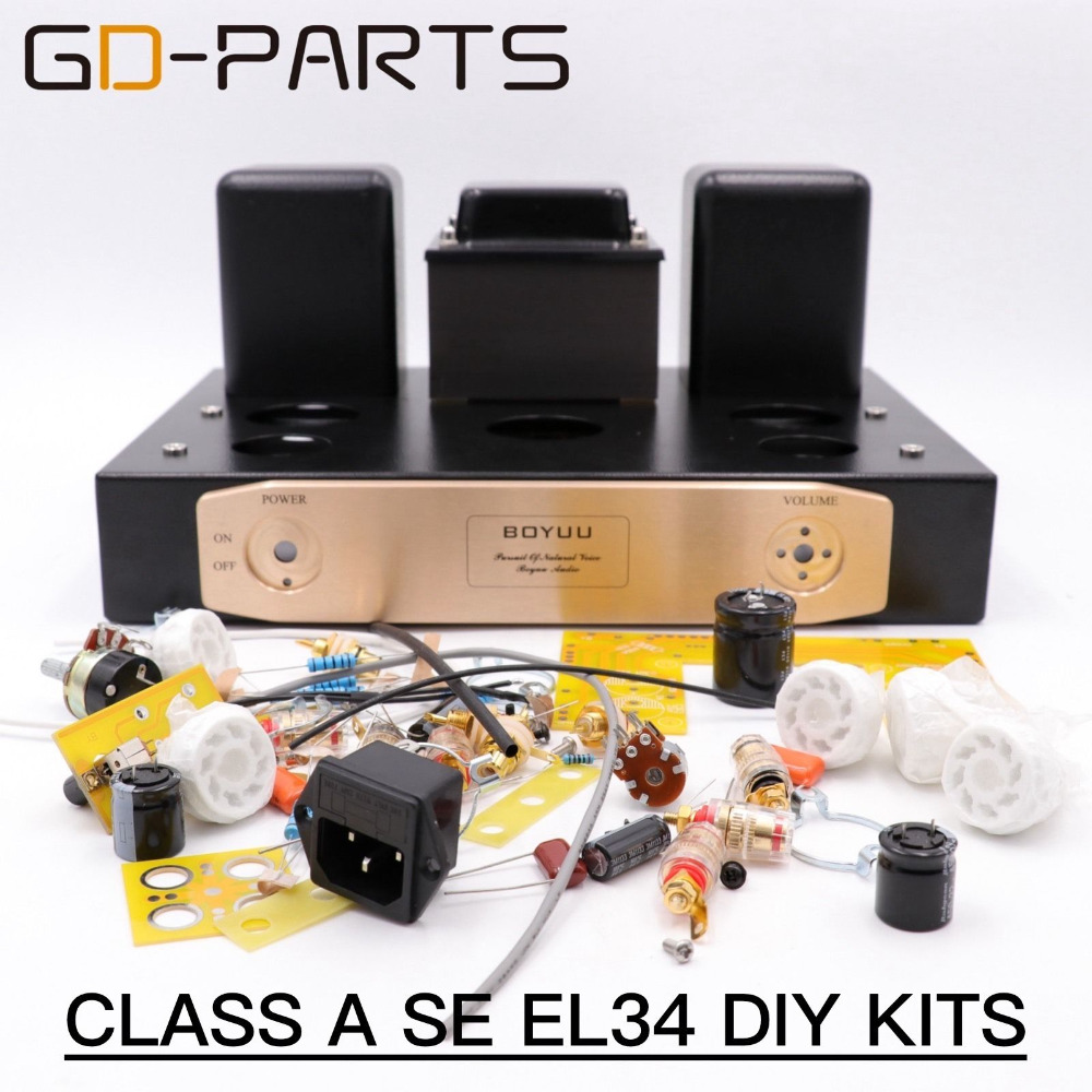 GD-PARTS Hifi DIY Kits Class A Single End EL34 Tube AMP Integrated Amplifier Vintage Tube audio AMP Hand Wired 1set tube amplifier hifi shuguang kt100 2 x 15w dual mono block integrated single ended russian 6h1 preamp usa 6ak5 driving amplifier