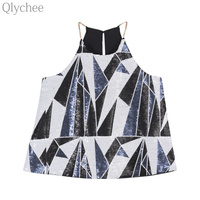 Qlychee Sexy Women Sequin Cami Camisole Tops Geometric Shiny Vest Round Neck Sleeveless Tank Top