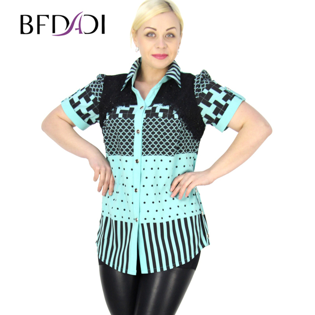BFDADI 2016 Band Sommer Neue Frauen blusen Hit farbe geometrische ...