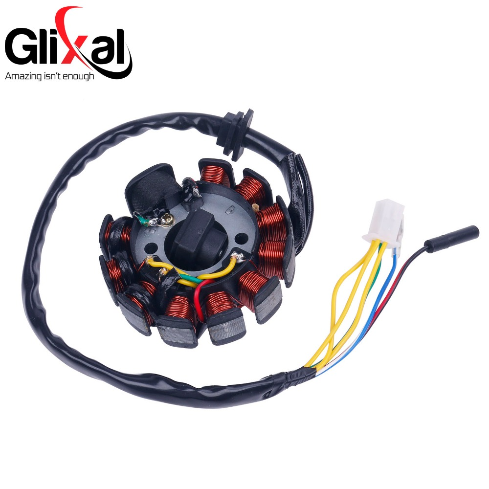 Glixal GY6 125cc 150cc 11 coil Magneto Alternator Stator for Chinese Scooter Moped ATV Go Kart Quads 152QMI 157QMJ Engine (4+2) go-kart