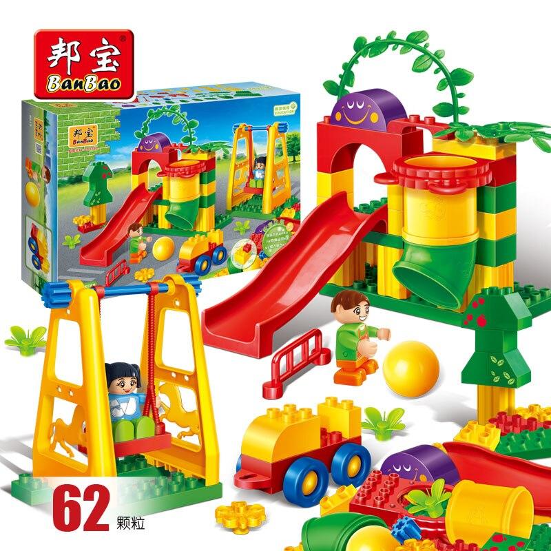 BanBao 6517 Amusement Park Slide Swing Playground Bricks Educational Blocks Model Building Toy For Children Kids Friend