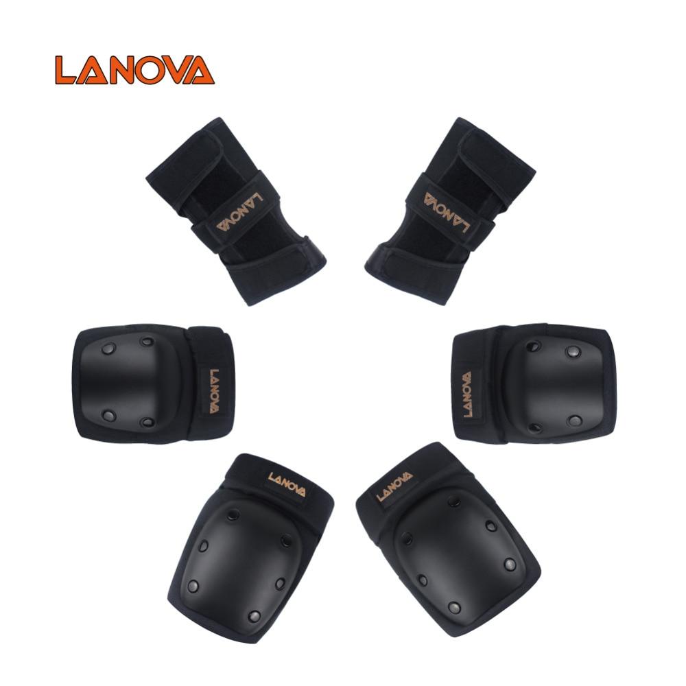 LANOVA 6pcs / set Erwachsene Kind Skating Schutzausrüstung Ellenbogen Knieschützer Handgelenkschutz Radfahren Skateboard Eislaufen Roller Protector