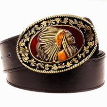 7c77ebbe5c09 Nouveau mode boucle en métal ceinture pour hommes exagérée style punk rock ceintures  indian head Hommes en cuir de ceinture hip .