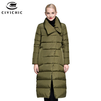 CIVICHIC Hot Fashion Korean Style Women Mid Long Down Jacket Thicken Warm Parka Irregular Buttons Coat Eiderdown Outerwear DC589