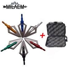 6pcs 100Gr Archery Blade Arrowhead +1pc Broadheads Box Stainless Steel  Target Point Shooting Arrow Accessories