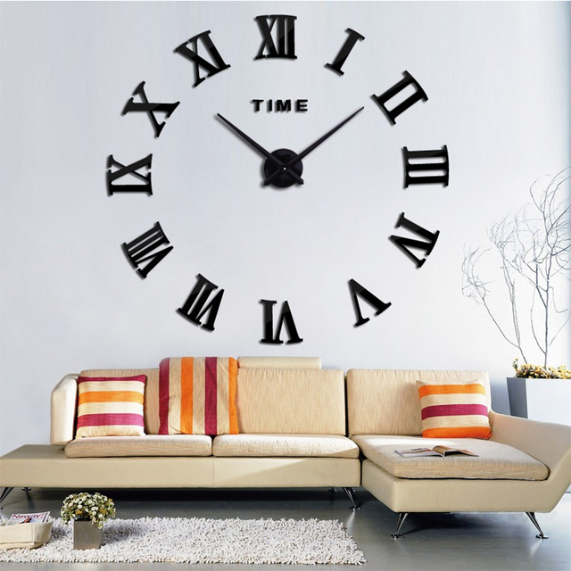 2017 New Home Decoration Quartz Metal 3D Mirror Wall Clock Fashion Personality DIY Circular Living Room Wall Watch Free Shipping