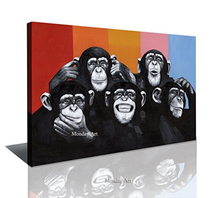 Hand Painted Modern Abstract Cartoon Animal Oil Painting On Canvas Gorilla Wall Art Monkey For Living Room Home Decor