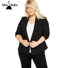 Misskoko плюс Размеры женская одежда Повседневное Slim Fit Пиджаки Базовые куртки для женщин дамы зубчатый с длинным рукавом Блейзер Женский Пальто Размеры