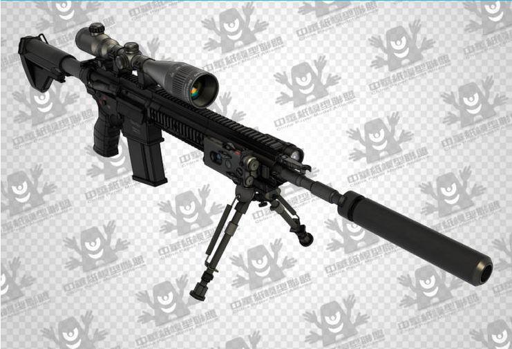 3D papier modèle HK417 Sniper fusil arme pistolet CS équipé de balle stéréoscopique échelle 1: 1 jouet fait main