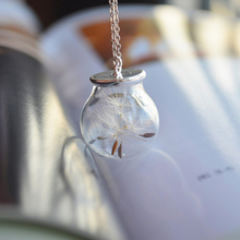 Dandelion Wish Real Flower 925 Sterling Silver Choker Necklace & Pendants Vintage One Direction Christmas Gift Boho Retro Love
