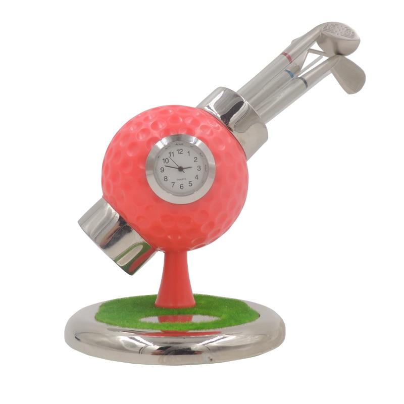 3pcs Golf Ballpoint Pen Original Design Golf Ball with Clock stand for Desk Ornaments Gifts Golf Hobbyist Gifts