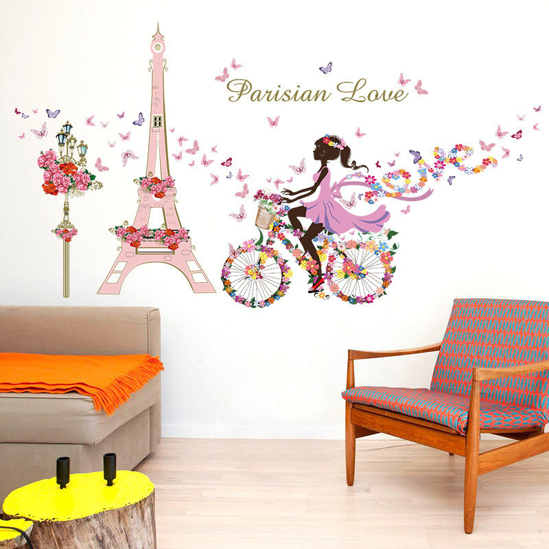 paris eiffel tower butterfly fairy floral girl wall sticker for kids