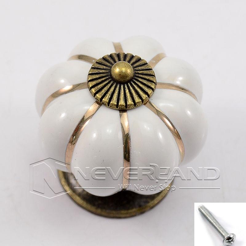 White Color Pumpkins Knobs Europe Ceramic Door Cabinet Cupboard Handles Pull Drawer 30mm 35mm 40mm some pumpkins