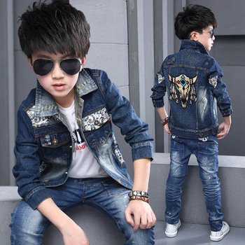 2018 Spring Fall Children's Denim Jacket Big Boys Patches Spliced Casual Coat Kids Holes Ripped Leisure Outerwear Clothes G738