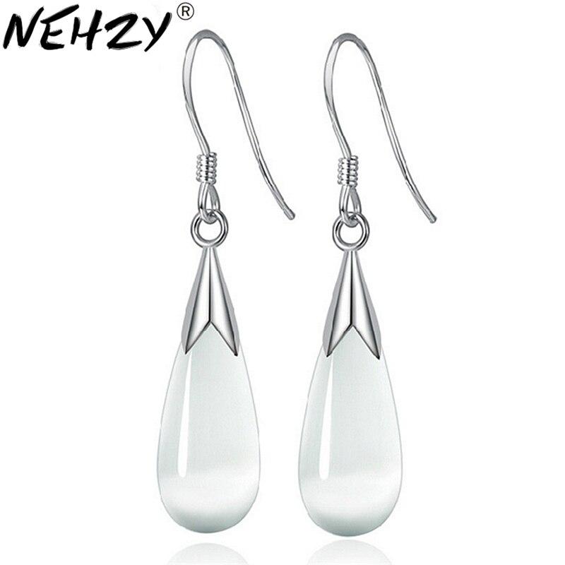 925 sterling silver new long section of female models opal drop earrings cute earrings fashion wild super flash vintage jewelry