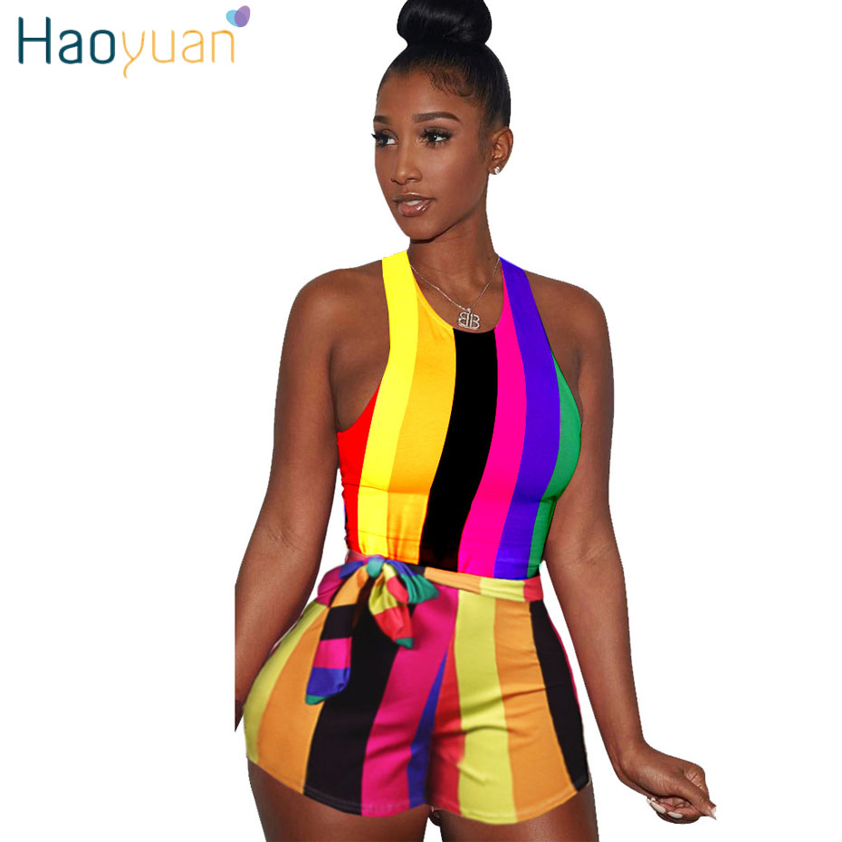 HAOYUAN Sexy Striped Playsuit With Sashes 2018 Summer Overalls Club Bodycon Bodysuit One Piece Shorts Rompers Womens Jumpsuit