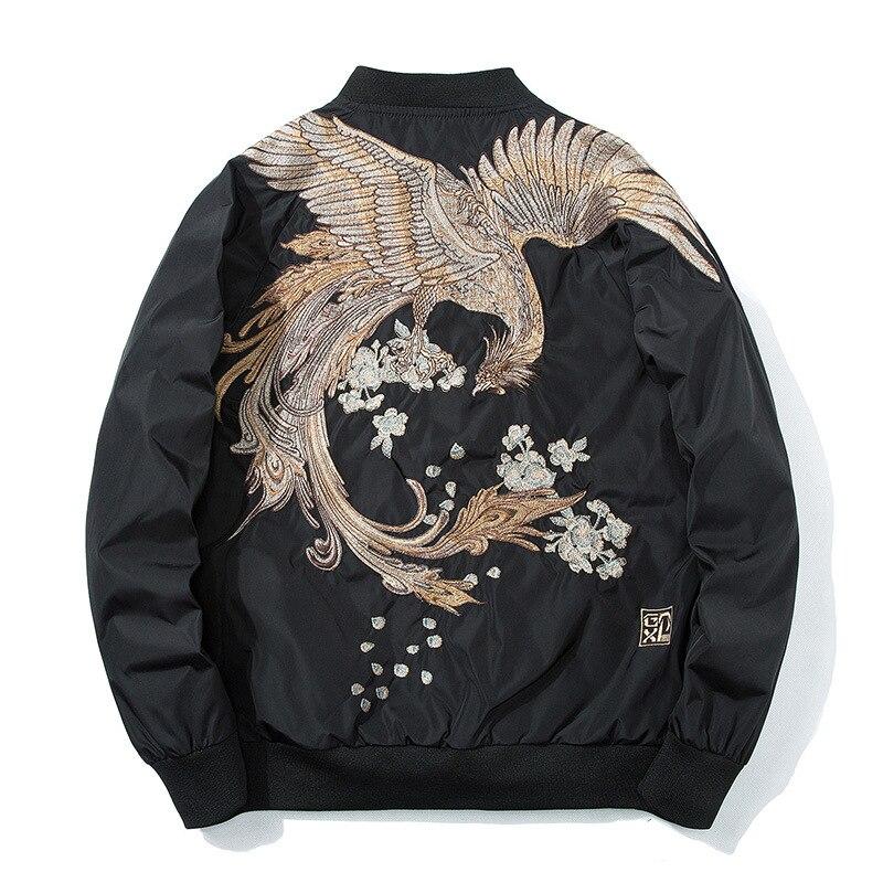 2018 printemps pilote Bomber veste hommes femmes oiseau broderie veste de Baseball décontracté jeunes Couples manteau japon Streetwear