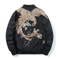 Spring Pilot Bomber Jacket Men Women Bird Embroidery Baseball Jacket Fashion Casual Youth Couples Coat Japan Streetwear