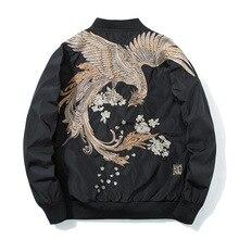 봄 파일럿 폭격기 재킷 남자 여자 버드 자수 야구 재킷 패션 캐주얼 청소년 커플 코트 일본 Streetwear
