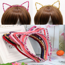 Cute Cat Ears Girls Hair Bands Sexy Kitten Leopard Hair Accessories For Women Sweet Cosplay Party Hair Hoop Photo Prop Headband(China)