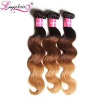 Longqi Hair Ombre Peruvian Hair Body Wave Hair Bundles T1B/4/27 Brown Honey Blonde Non-Remy Human Hair Extensions 16-26 Inches