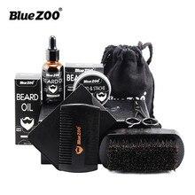 Blue ZOO Natural Organic Men Beard Care Set Wax Beard Oil Brush Comb Scissors Wa