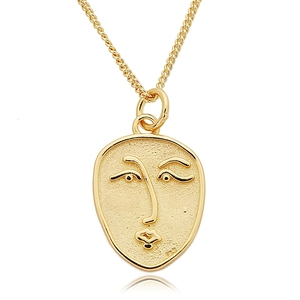 Abstract face 925 sterling silver pendants necklace portrait gold color wild face necklace for women jewelry for charms 2018(China)