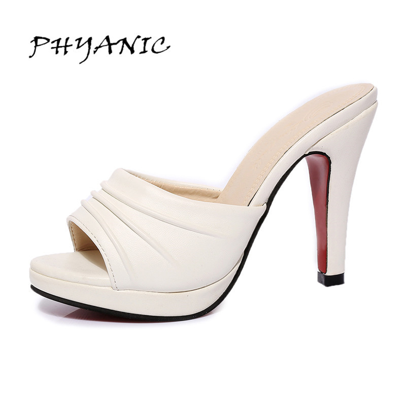 PHYANIC Vintage Woman Platform Shoes 2017 Summer Women Mules Shoes Peep Toe Thick Heeled Ladies Sandals Slip On Slides PHY7403 phyanic 2017 gladiator sandals gold silver shoes woman summer platform wedges glitters creepers casual women shoes phy3323