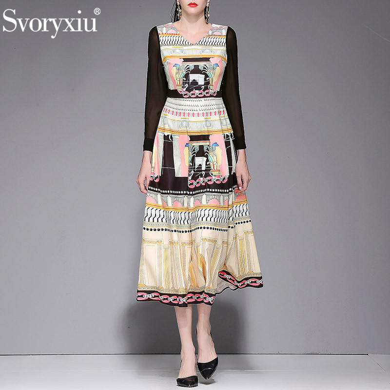 Svoryxiu Spring Summer Runway Vintage Long Sleeve Long Dress Women s Fashion Beading Bohemian Printed Vacation