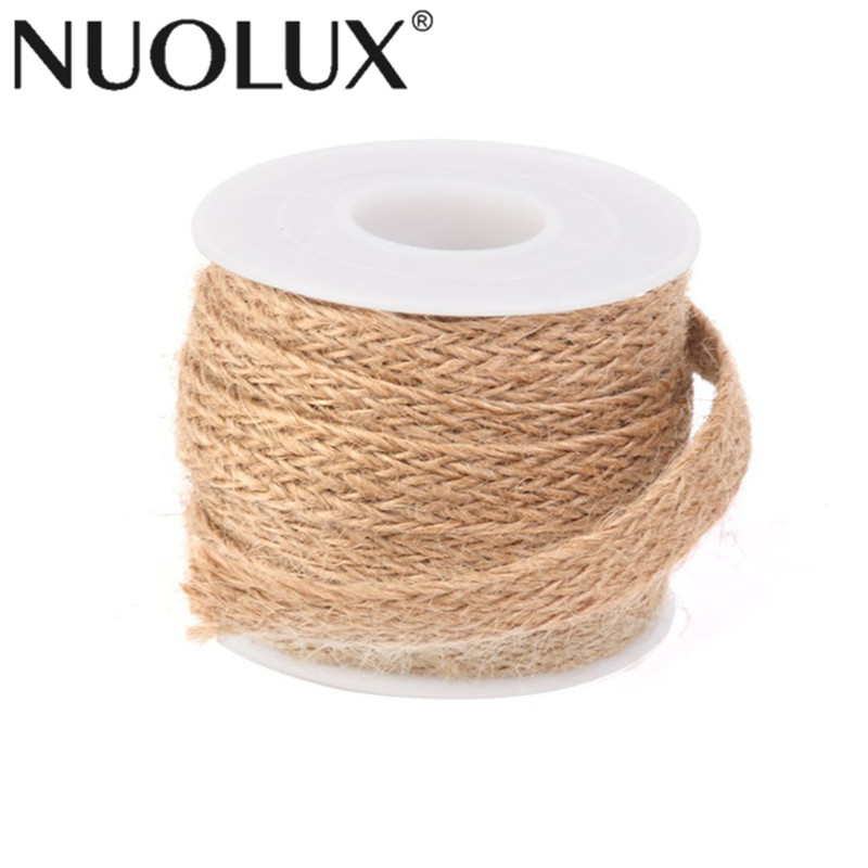 Rustic 5M Jute Burlap Braided String Hessian Ribbon Rope for Wedding Party Craft