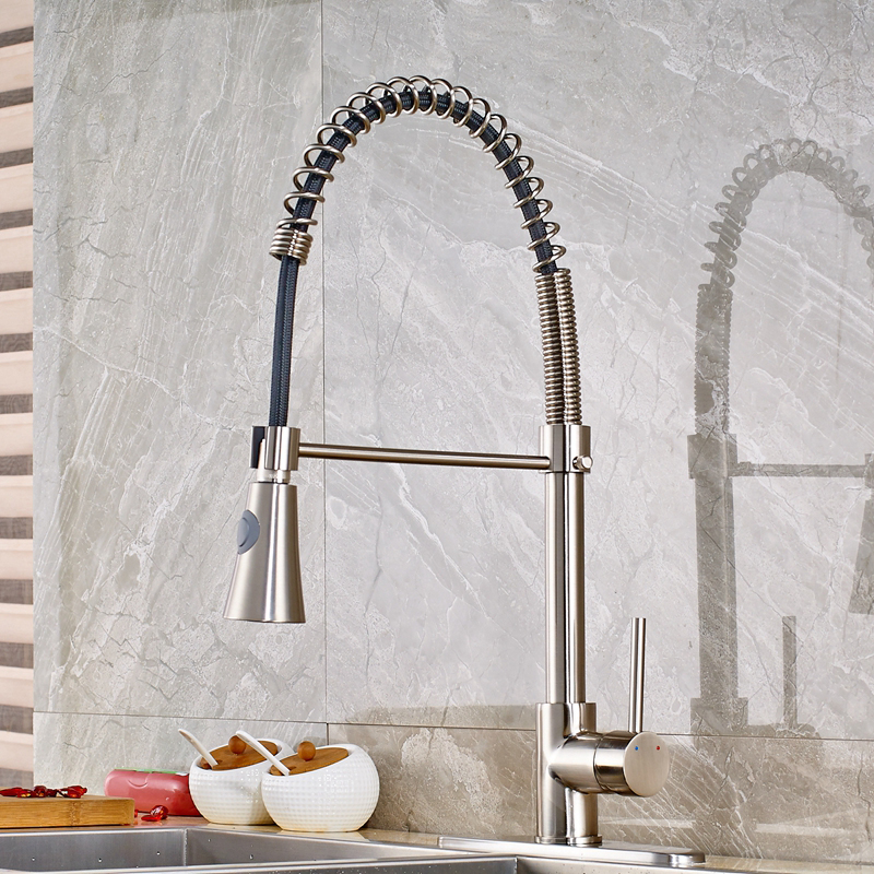 ФОТО Brushed Nickle Kitchen Faucet Hot And Cold Water With Round Cover Plate Mixer