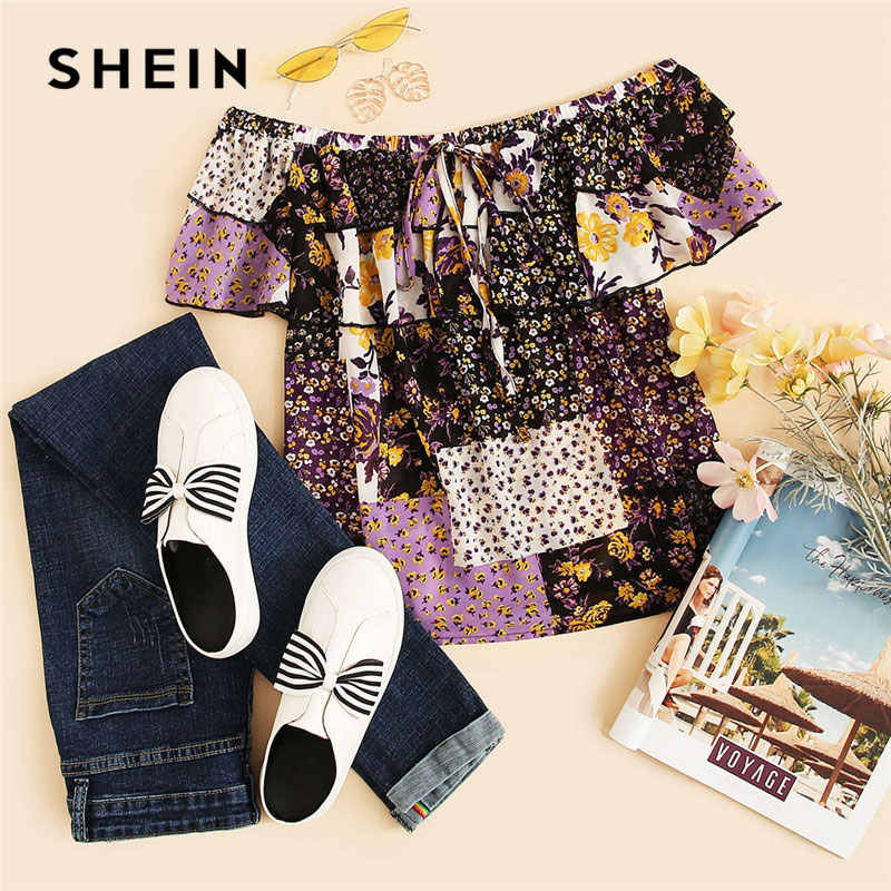 b94a9b7297 ... SHEIN Multicolor Off Shoulder Layered Foldover Colorblock Floral Blouse  Vacation Ruffle Drawstring Women 2019 Summer Beach
