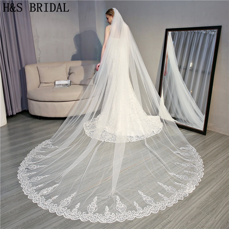 H&S Bridal Voile de mariee Long Lace Edge Wedding Veil Wedding Accessories Bridal Veil velo de novia veu de noiva