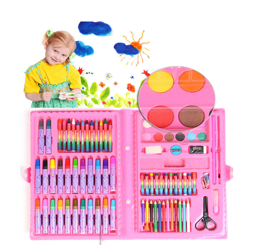 86pc/Set Childrens day gifts Drawing Art Set Painting Water Color Pen Crayon Oil Pastel Paint Brush Color Pencil Education Tool