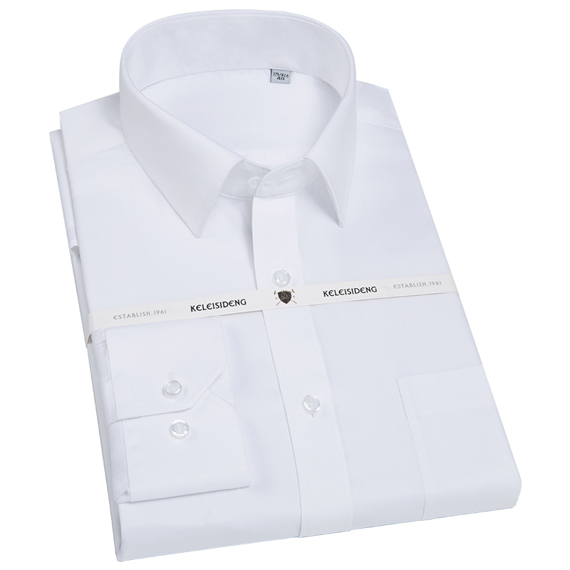 Men's Slim-Fit Wrinkle-Free Solid Twill Dress Shirt Long Sleeve With Breast Pocket Buttonable Cuffs Formal Top Quality Shirts