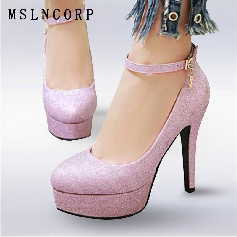 Plus Size 34-43 Fashion High heeled Shoes Woman Pumps Wedding Shoe Platform Fashion Gold Glitter Elegant Ankle Strap Women Shoes