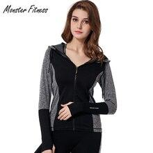Monster Fitness Women Sport Jacket Quick-dry Long-sleeved Running Gym Sweatshirt Cloth Fitness Zipper Jacket Outerwear chaquetas