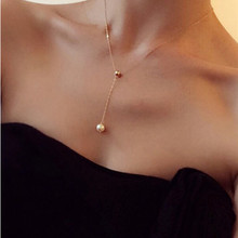 x9 Elegant Lady Simulated Pearl Long Pendant Necklaces For Women Choker Necklaces Gold Color Clavicle Chain Necklaces Wholesale