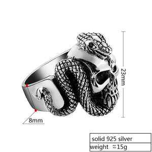 Image 2 - ZABRA 100% 925 Sterling Silver Skull Ring Men With Snake Big Punk Rock Gift For Biker Man Rings Silver Gothic Jewelry