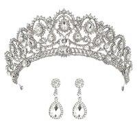 Свадебная Корона, свадебные тиары с серьгами, корона принцессы для женщин, головная повязка для невесты, украшение для волос, украшения для ...