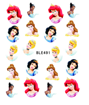 1 sheet Cartoon Nail Art Water Transfer Stickers Tips Princess Decals Manicure Fashion Accessories Decoration Tools SAND092 стоимость