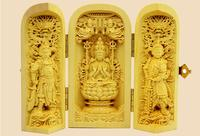 Folding carton boxwood carving decorative Fortuna the Guanyin statue Home Furnishing decoration