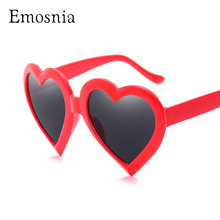 Emosnia Red Heart Shaped Sunglass women Oversizd 2018 Candy Color White Pink Par