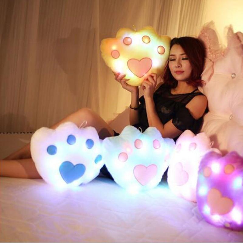 1PCS रंगीन एलईडी चमकदार प्रकाश आलीशान तकिया तकिया बच्चे बच्चों के जन्मदिन का उपहार