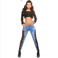 Women Lace Jeans Popular In Europe And America Style Slim Fit Women Pencil Jeans Pants Hot