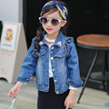 Girls outerwear baby girl clothes 2016 spring autumn fashion ruffles baby kids jacket long sleeve pearl girls denim jean coat