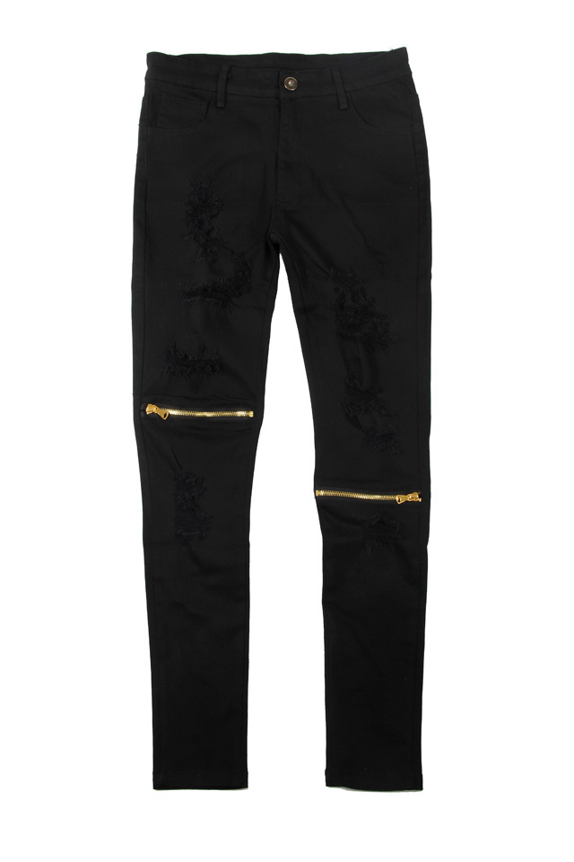 Black Jeans With Zips - Xtellar Jeans