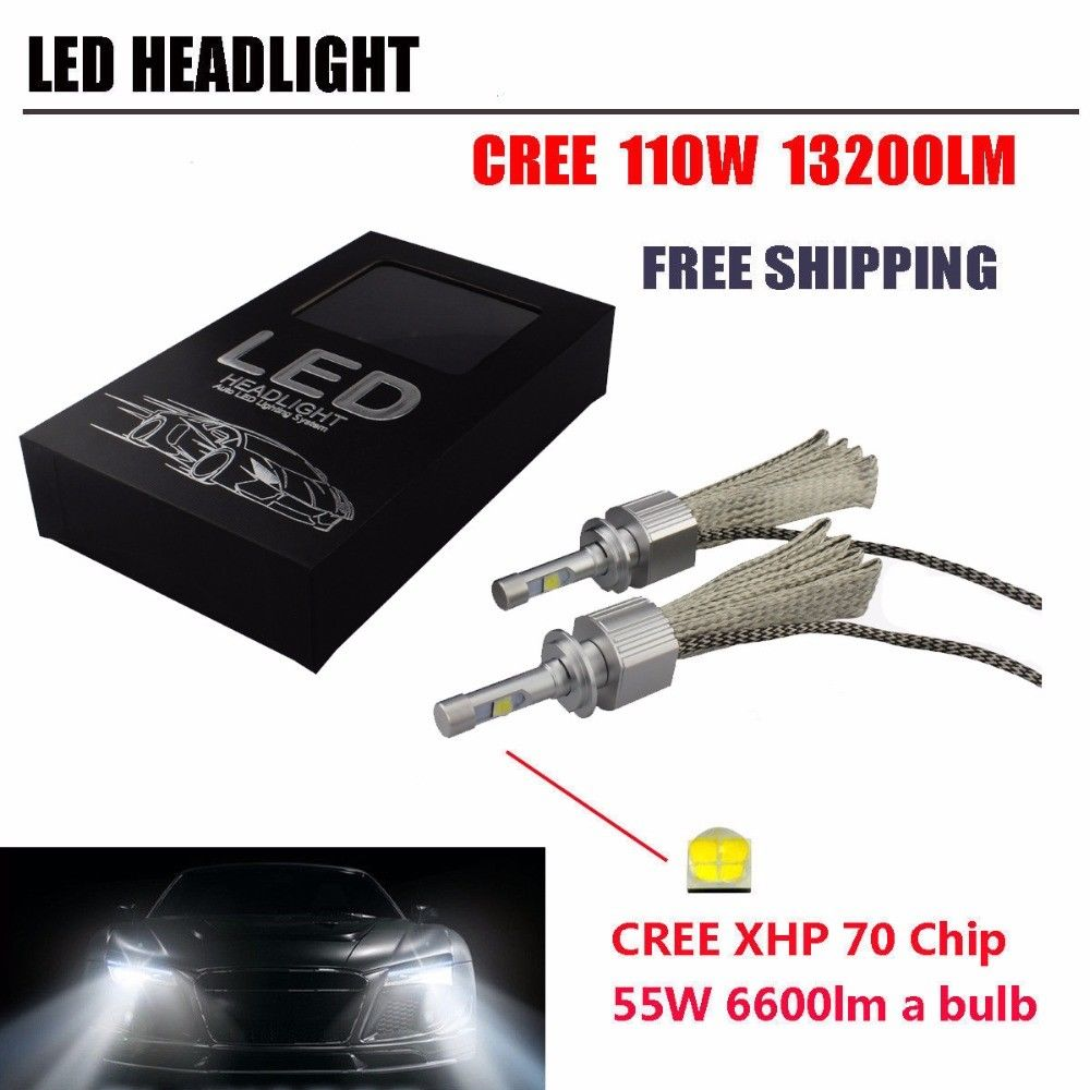 2*Car <font><b>LED</b></font> Headlight Kit <font><b>CREE</b></font> <font><b>XHP70</b></font> Chip 110W 13200LM Error Free Canbus <font><b>H7</b></font> H4 H11 9005 9006 H1 Car <font><b>LED</b></font> Headlight Automobile Bulb image