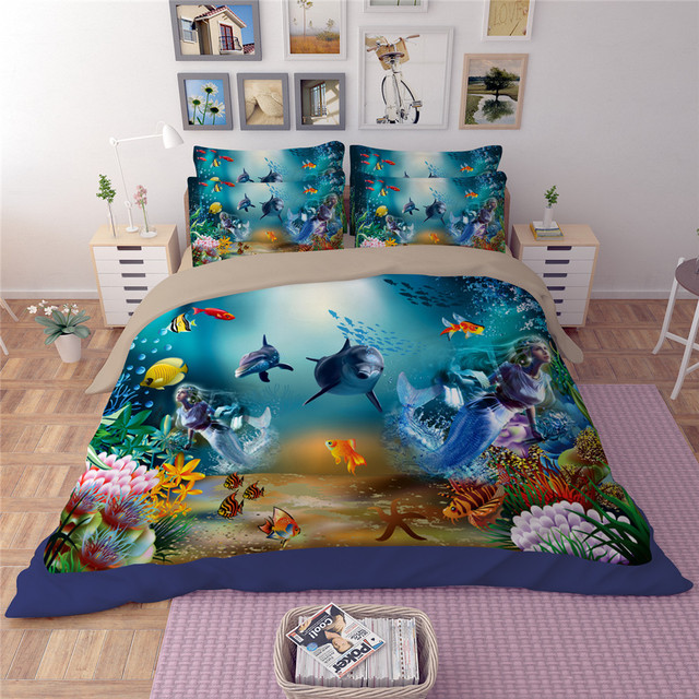 YeeKin Underwater World Shark U0026 Ocean Fish Kids Bedding Sets,Twin Size  Fitted Bed Sheet